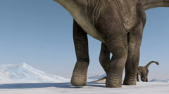 Dinosaur. Prehistoric snow landscape, ice valley with Dinosaurs. Arctic view Stock Footage