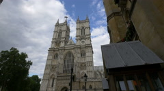 Great view of Westminster Abbey's facade in London Stock Footage