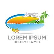 Logo Beach Holiday Sunset Ocean Vocation Plane - stock illustration