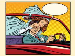 Wedding trip bride groom car Stock Illustration