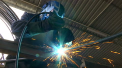Gas welding metal construction Stock Footage