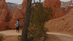 People hiking on a trail in Bryce Canyon National Park Stock Footage