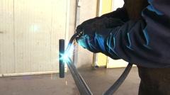 Jump welding metal structures Stock Footage