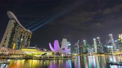 Night famous marina bay laser show panorama 4k time lapse singapore Stock Footage
