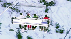 Ski, skiing - skiers on ski lift Stock Footage