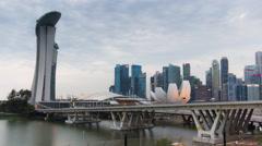 Sunset twilight flyer marina bay ride view 4k time lapse singapore Stock Footage