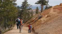 People walking on a trail in Bryce Canyon National Park Stock Footage