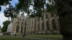 Walking on an alley along Westminster Abbey in London Stock Footage