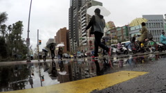 Timelapse raining day of traffic in the Cityscape Taipei, Taiwan-Dan Stock Footage
