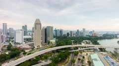 Traffic road junction city flyer panorama 4k time lapse singapore Stock Footage
