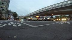 4k Traffic cars and people crossing urban street in the night-Dan Stock Footage