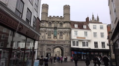 Canterbury England Cathedral Gate people shopping 4K Stock Footage