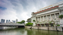 day light famous fullerton hotel river bay panorama 4k time lapse singapore - stock footage