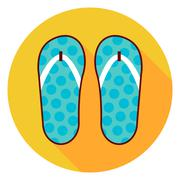 Sea Slippers Circle Icon - stock illustration