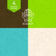Thin Line Art Green Energy Ecology Pattern Set - stock illustration