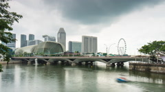 Rainy day esplanade bay theater flyer bay panorama 4k time lapse singapore Stock Footage