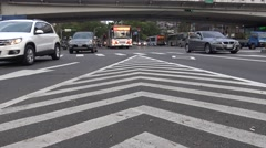 4k Traffic cars and people crossing urban street with ligth day-Dan Stock Footage