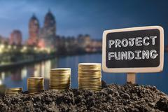 Project funding. Financial opportunity, business and intertnet concept. Golden - stock photo