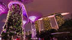 Gardens by the bay night show hotel panorama 4k time lapse singapore Stock Footage