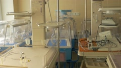 Nicu Incubator Equipment For Premature Born Infants Beds Are Made of Clear - stock footage