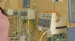 Nurse in Unit of Intensive Therapy is Preparing Medical Equipment Unit - stock footage