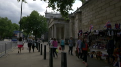 Tourists walking byThe Household Cavalry Museum in London - stock footage
