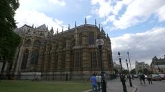 Walking near Westminster Abbey in London Stock Footage