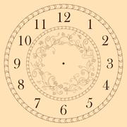 clock face decorated with doodle flowers - stock illustration