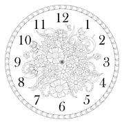 clock face decorated with doodle flowers on white background - stock illustration
