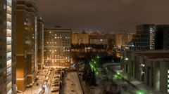 Moscow living block night morning panorama 4k time lapse russia Stock Footage