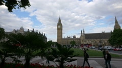 The famous Big Ben clock tower seen from Parliament square in London Stock Footage