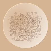 hand drawn decorated saucer - stock illustration