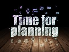 Time concept: Time for Planning in grunge dark room Stock Illustration