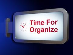 Timeline concept: Time For Organize and Clock on billboard background Stock Illustration