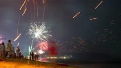new year phuket island beach celebration panorama 4k time lapse thailand - stock footage