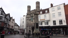 Canterbury England Cathedral Gate town center 4K Stock Footage