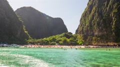 Koh phi phi famous beach boat view panorama 4k time lapse thailand Stock Footage