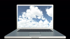 4k Cloud Computer Data Storage,Laptop play video of time lapse clouds,blue sky. Stock Footage