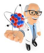 3D Physics teacher with an atom - stock illustration