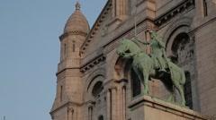 CU of La Basilique Sacré-Cœur (Sacre Couer) / Montmartre, Paris, France. Stock Footage