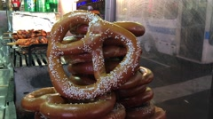 Pretzels on the streets of New York City - stock footage