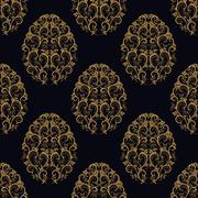 Seamless pattern from eggs with gold floral ornament Stock Illustration