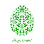 Easter egg with green floral ornament over white Stock Illustration