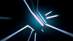 Angular wormhole tunnel through time and space, flashy neon style. - stock footage