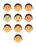boy or man different face emotions collection cartoon flat - Emoji emoticon icon - stock illustration