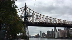 NEW YORK CITY – CIRCA OCTOBER, 2015: The famous Roosevelt Island cable tram car Stock Footage