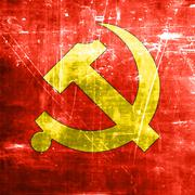 Communist sign with red and yellow colors - stock illustration