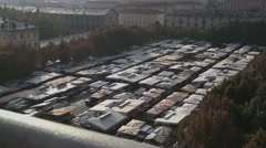 Aerial view of a farmers market place in Italy Stock Footage