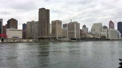 Midtown Manhattan from Roosevelt Island Aerial Tram Stock Footage