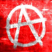 Anarchy sign with rough edges - stock illustration